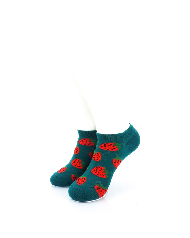 cooldesocks strawberries in green liner socks front view