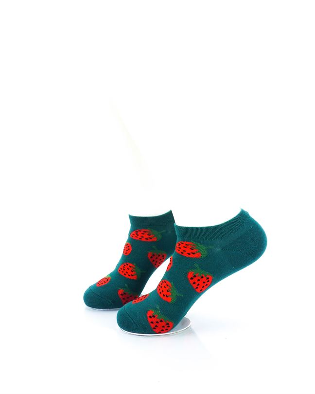 cooldesocks strawberries in green liner socks left view