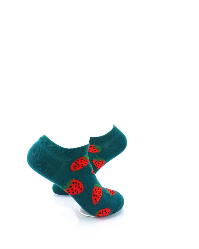 cooldesocks strawberries in green liner socks right view
