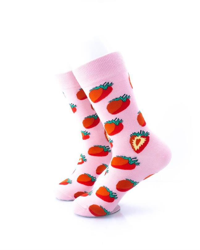 cooldesocks strawberries in pink crew socks left view