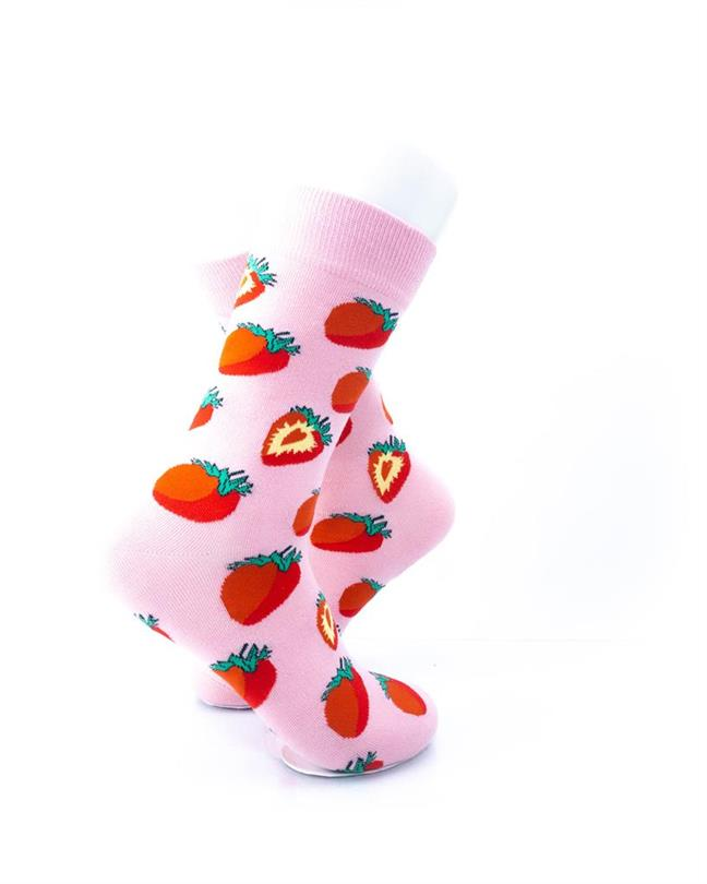 cooldesocks strawberries in pink crew socks right view