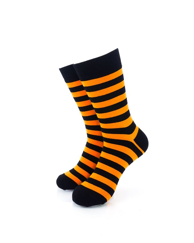 CoolDeSocks Striped Black Orange Crew Socks front view image