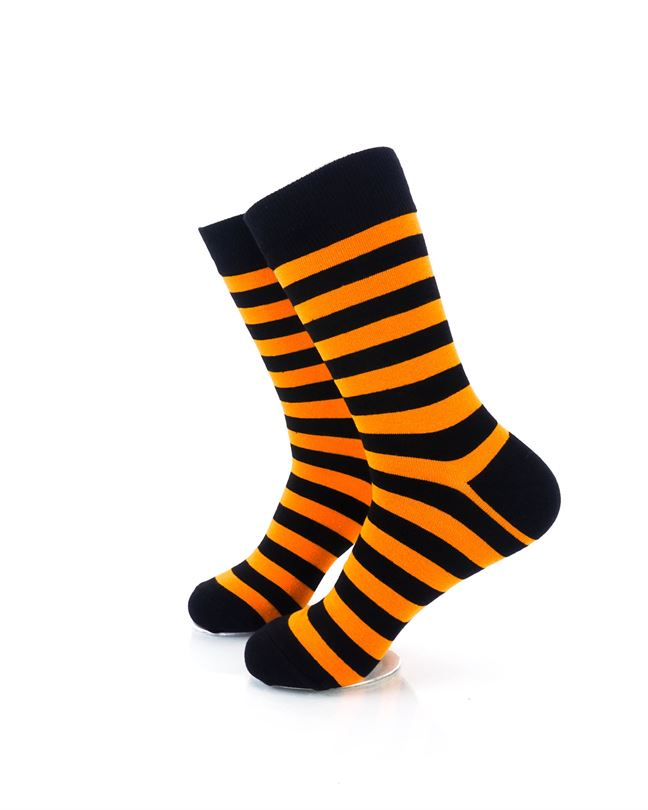 CoolDeSocks Striped Black Orange Crew Socks left view image