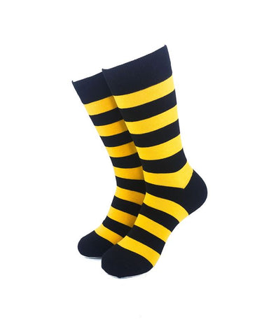 CoolDeSocks Striped Black Yellow Crew Socks front view image