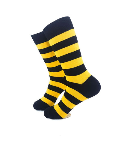 CoolDeSocks Striped Black Yellow Crew Socks left view image