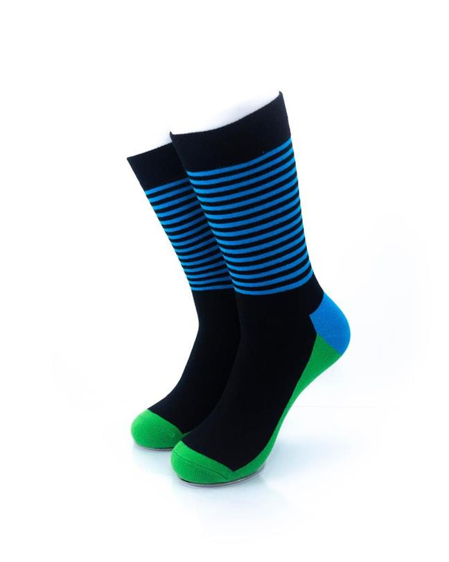 CoolDeSocks Striped - Blue Green Socks front view image