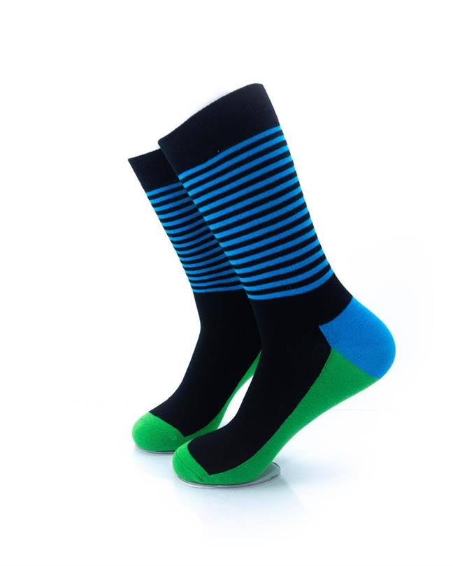 CoolDeSocks Striped - Blue Green Socks left view image