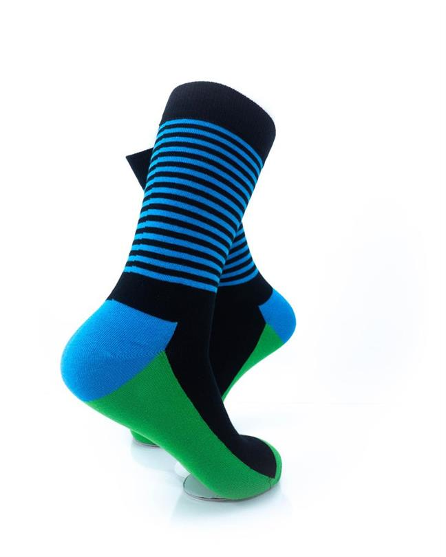 CoolDeSocks Striped - Blue Green Socks right view image