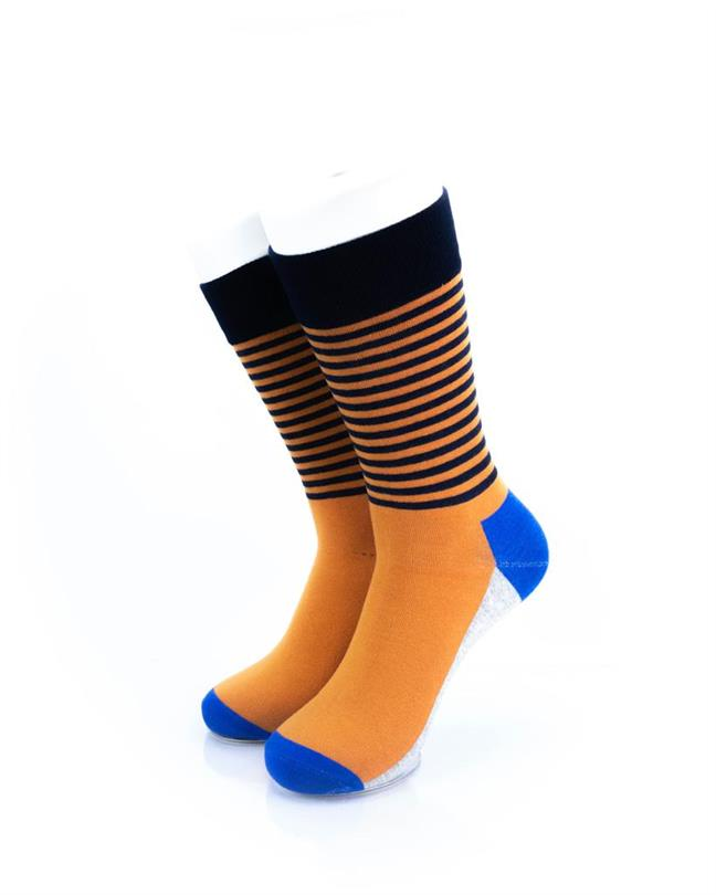 CoolDeSocks Striped - Blue Orange Socks front view image