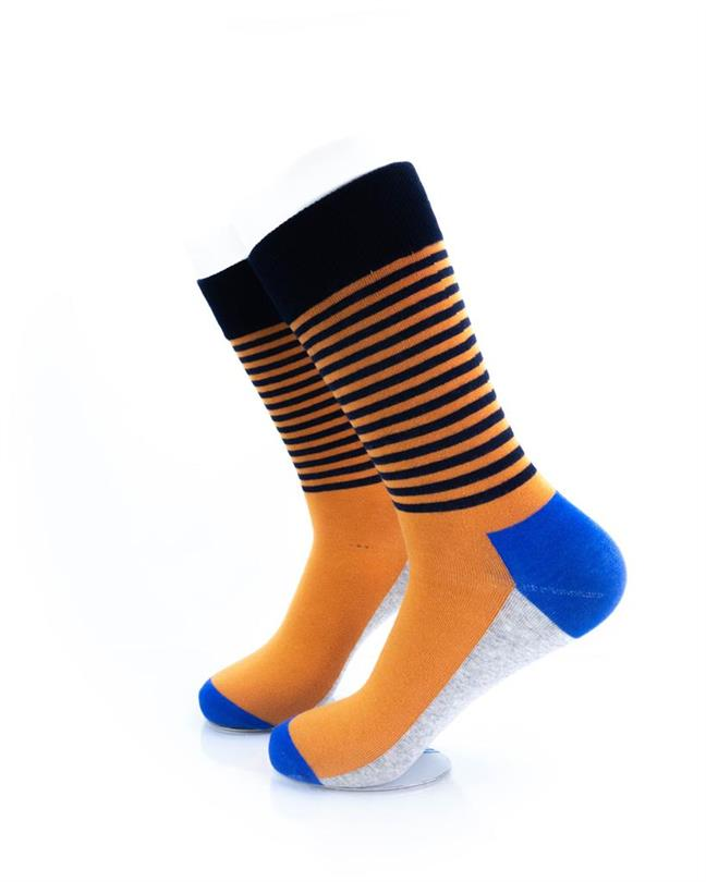 CoolDeSocks Striped - Blue Orange Socks left view image