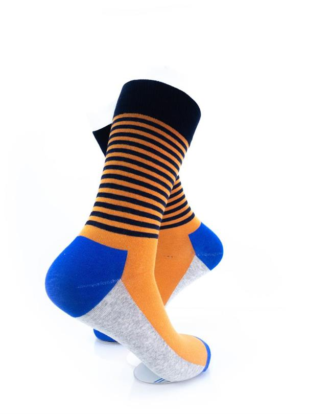 CoolDeSocks Striped - Blue Orange Socks right view image
