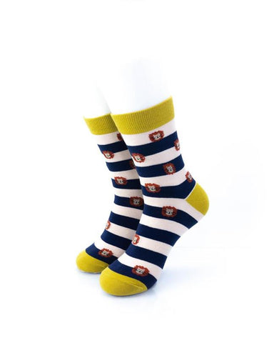 CoolDeSocks Striped Cute Lion Socks front view image
