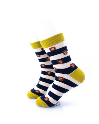 CoolDeSocks Striped Cute Lion Socks left view image