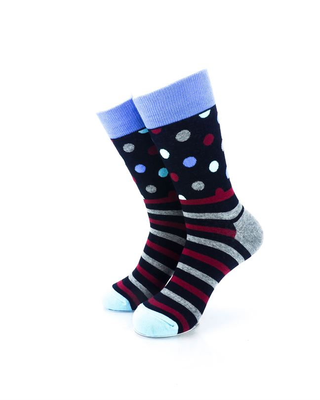 cooldesocks striped dot black crew socks front view