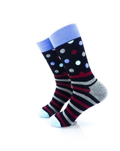 CoolDeSocks Striped Dot - Black Socks Left View Image