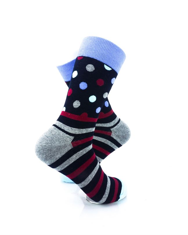 cooldesocks striped dot black crew socks right view