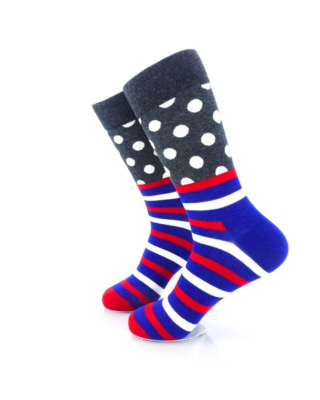 CoolDeSocks Striped Dot - Dark Grey Socks Left View Image