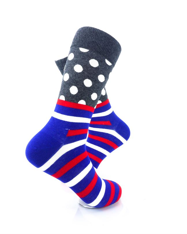 CoolDeSocks Striped Dot - Dark Grey Socks Right View Image