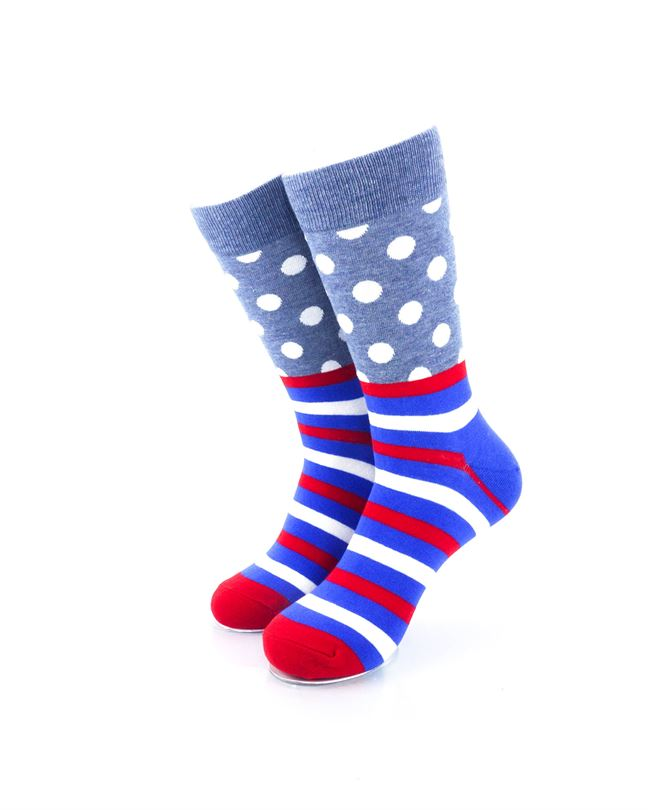 CoolDeSocks Striped Dot - Grey Socks Front View Image