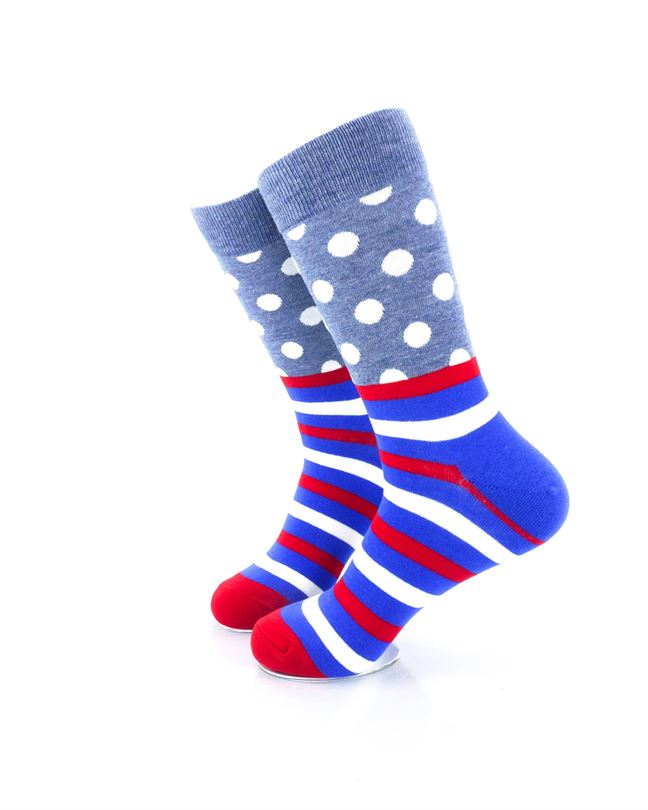 CoolDeSocks Striped Dot - Grey Socks Left View Image