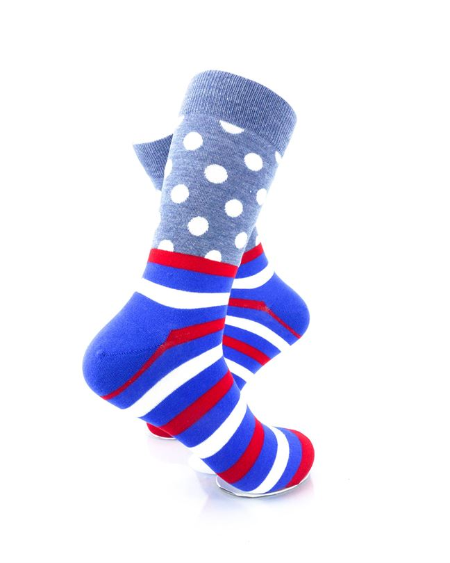 CoolDeSocks Striped Dot - Grey Socks Right View Image