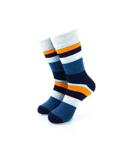 CoolDeSocks Striped Neo - Blue Orange Socks Front View Image