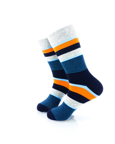 CoolDeSocks Striped Neo - Blue Orange Socks Left View Image