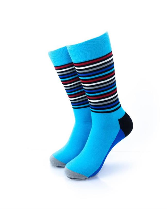 CoolDeSocks Striped Rainbow Blue Socks front view image