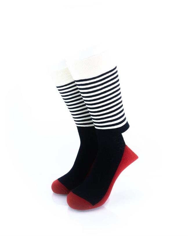 CoolDeSocks Striped - Red Black Socks front view image