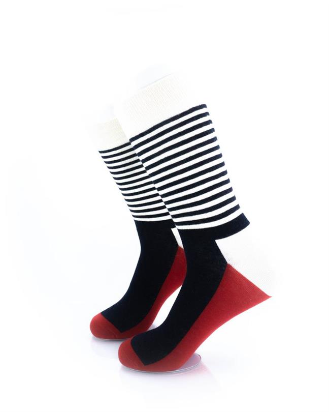CoolDeSocks Striped - Red Black Socks left view image