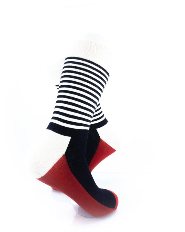 CoolDeSocks Striped - Red Black Socks right view image
