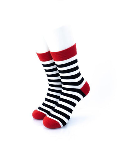 cooldesocks striped red black white crew socks front view