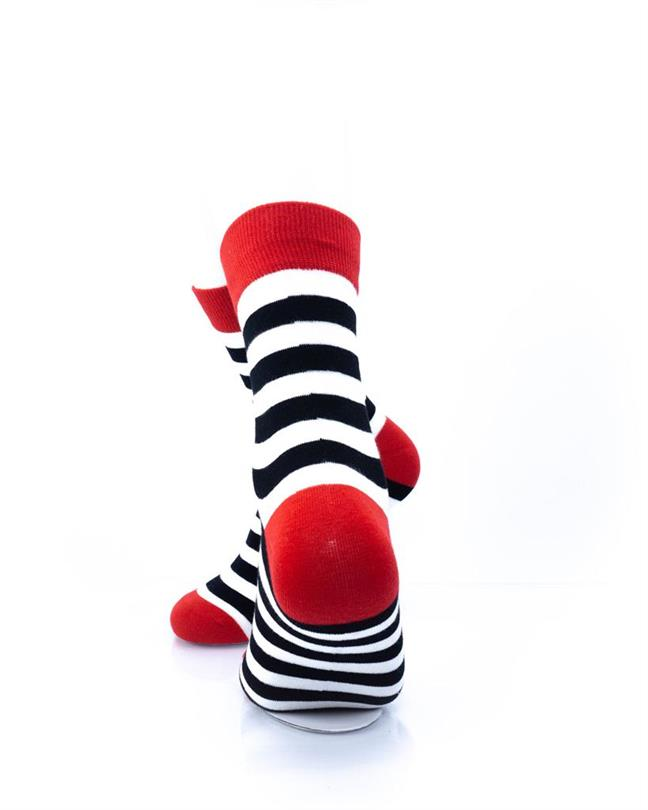 cooldesocks striped red black white crew socks rear view