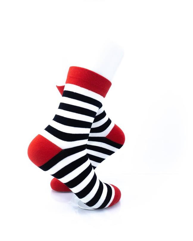 cooldesocks striped red black white crew socks right view