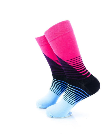 CoolDeSocks Striped Retro - Blue Pink Socks Left View Image