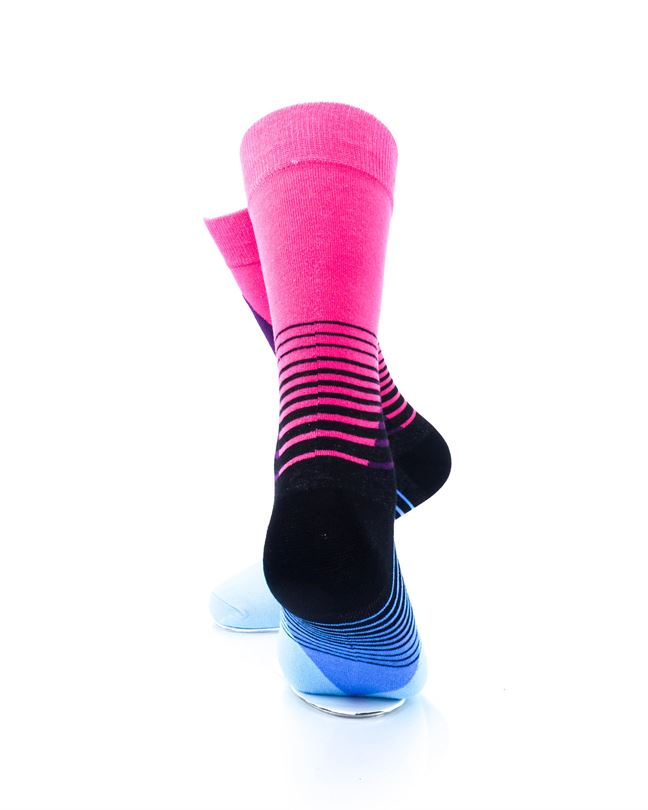 cooldesocks striped retro blue pink crew socks rear view