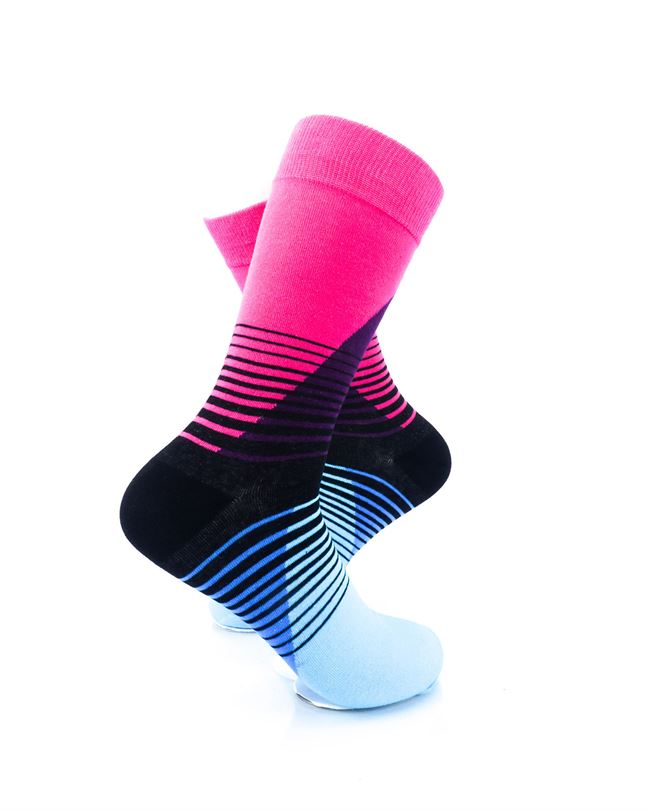 cooldesocks striped retro blue pink crew socks right view
