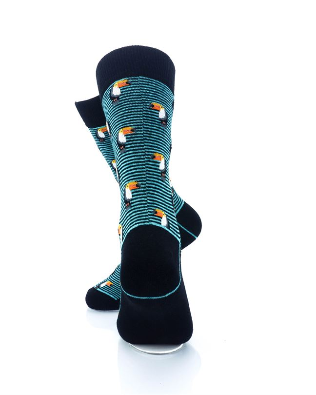 CoolDeSocks Striped Small Hornbill Crew Socks rear view image