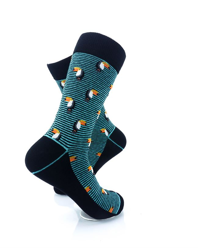 CoolDeSocks Striped Small Hornbill Crew Socks right view image