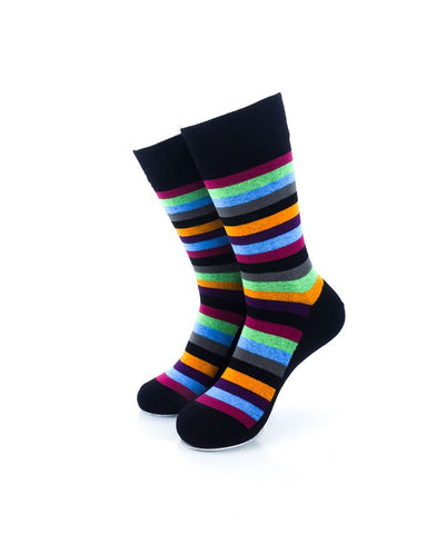 CoolDeSocks Striped Vintage - Neon Black Socks Front View Image