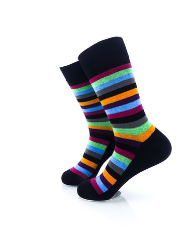 CoolDeSocks Striped Vintage - Neon Black Socks Left View Image