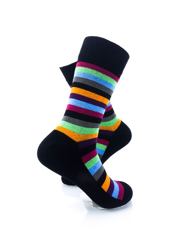 CoolDeSocks Striped Vintage - Neon Black Socks Right View Image