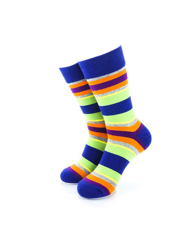 CoolDeSocks Striped Vintage - Neon Blue Socks Front View Image