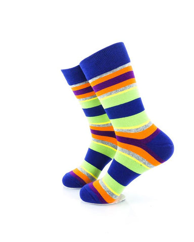 CoolDeSocks Striped Vintage - Neon Blue Socks Left View Image