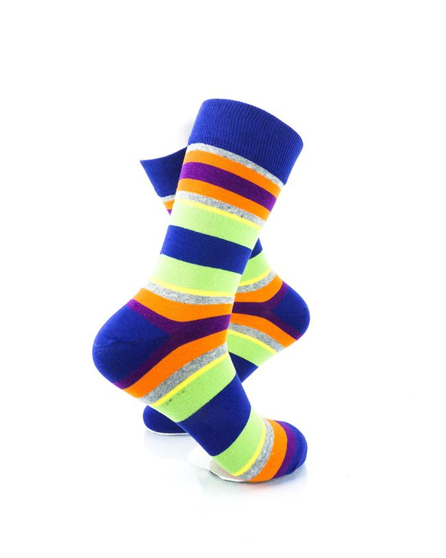 CoolDeSocks Striped Vintage - Neon Blue Socks Right View Image