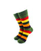 cooldesocks striped vintage neon green crew socks front view image