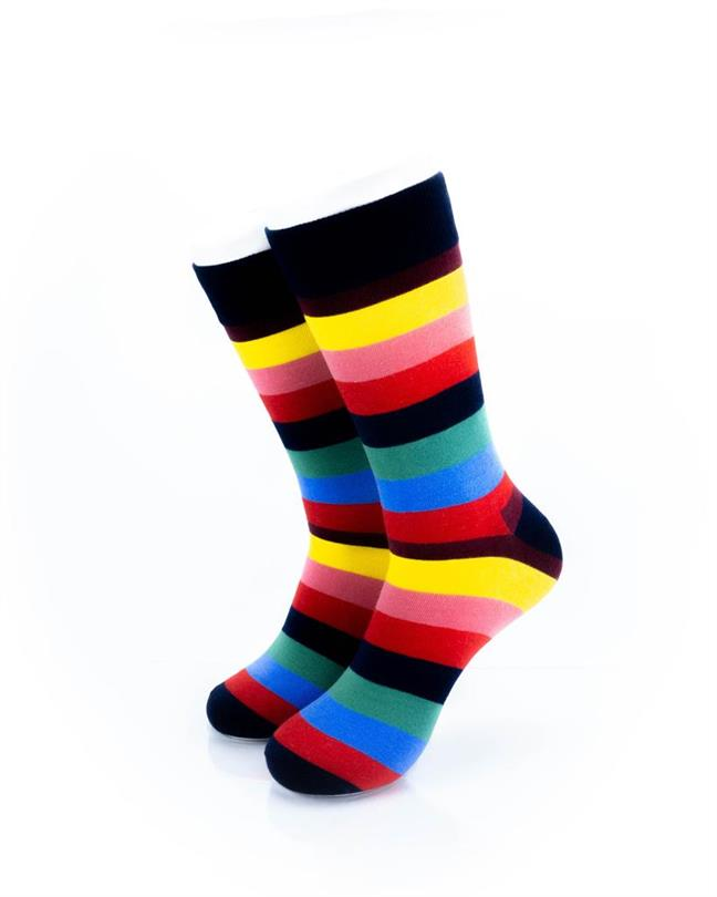 CoolDeSocks Striped (Rainbow) Socks front view image