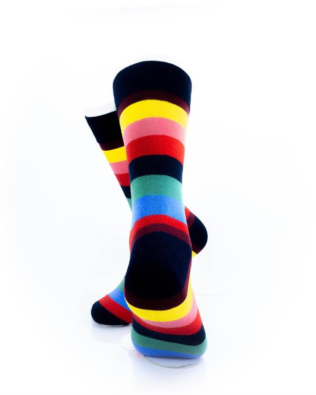 CoolDeSocks Striped (Rainbow) Socks rear view image