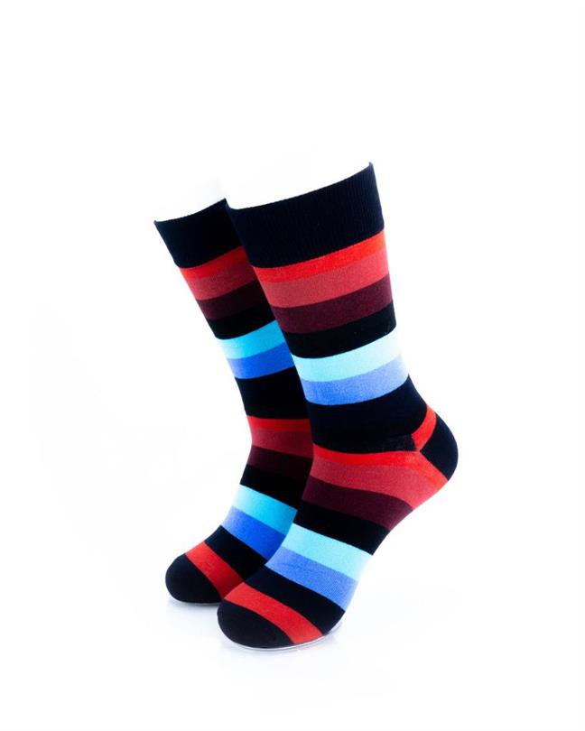 CoolDeSocks Striped (Red Blue) Socks front view image