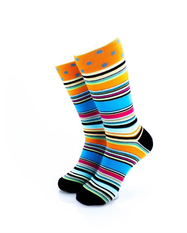 CoolDeSocks Stripped Psychedelic Socks front view image